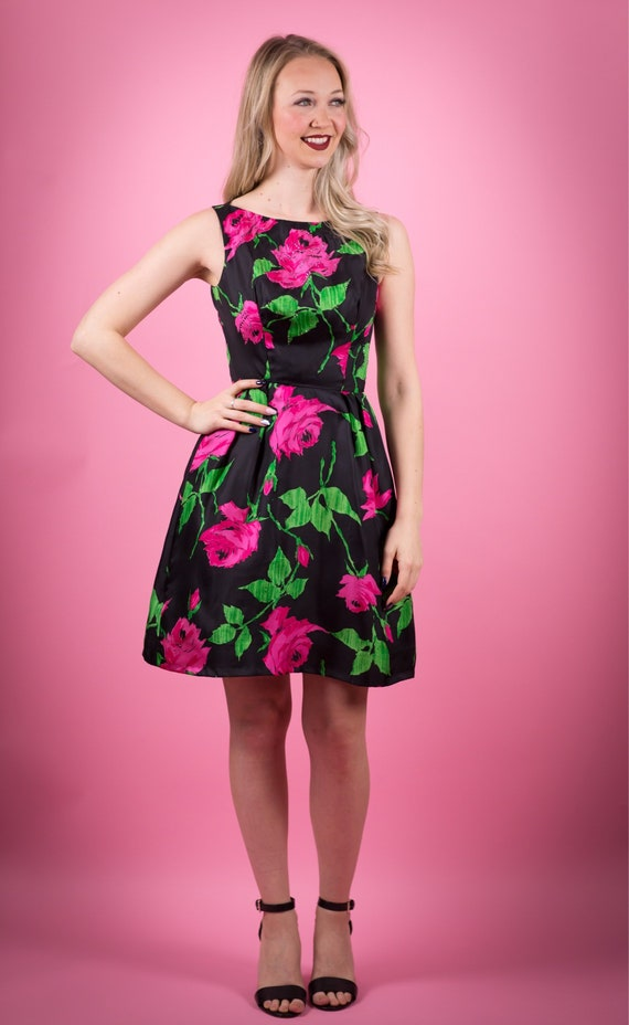 1950's Roses Print Black Satin Cocktail Dress 50's