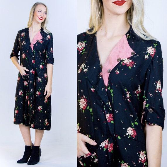 1920's Black Floral Robe 20's Pattern Wrap Dress