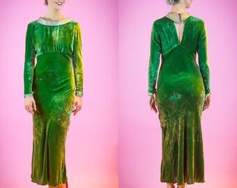 1930s Arsenic Green Velvet Evening Gown 30's Dress XS
