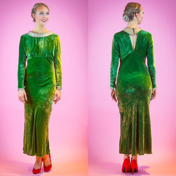1930s Arsenic Green Velvet Evening Gown 30's Dress