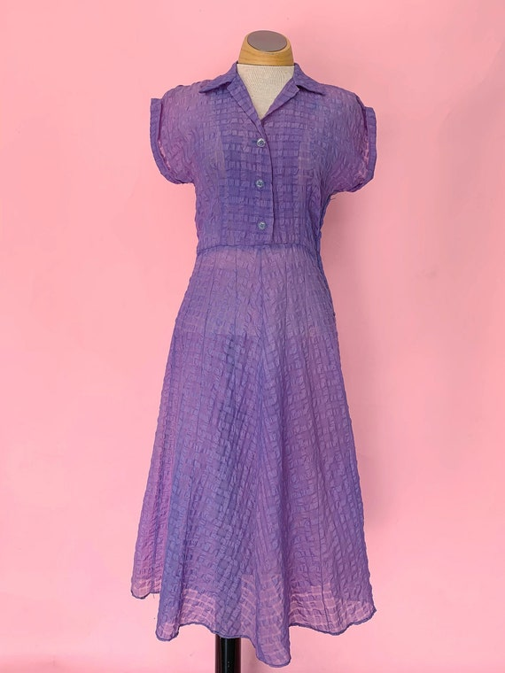 1940's Sheer Purple Day Dress