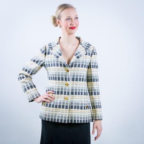 1960s 1970s Teal Traina Wool Plaid Blazer Jacket