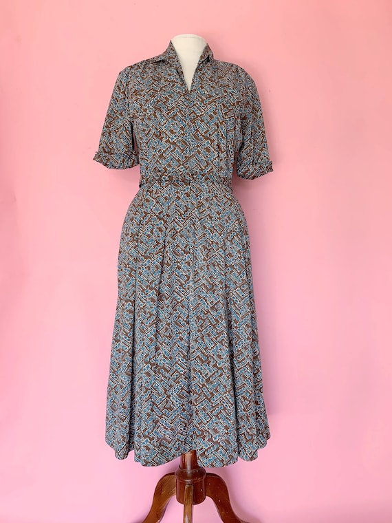 1950's Brown Jersey Zipper Front Day Dress Size La