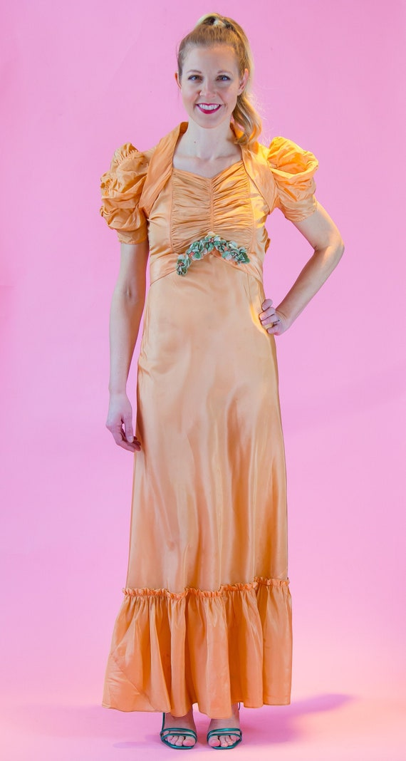 1930's Peach Taffeta Formal Dress 30's Prom Dress