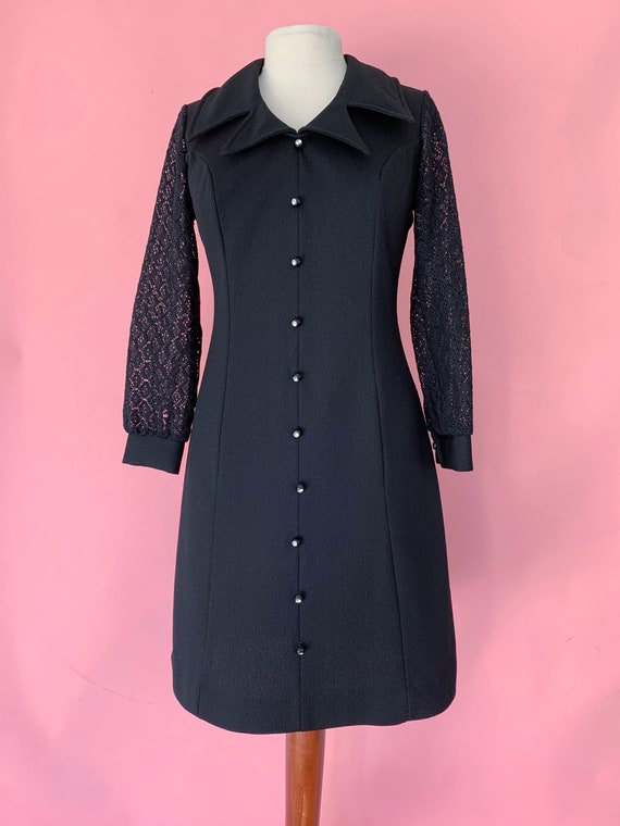 1970's Witchy Woman Black Polyester Dress