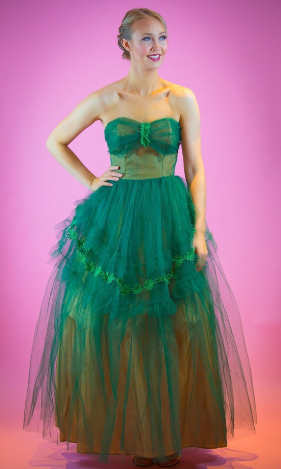 1950's Emerald Green Tulle Prom Dress 50's sweethe