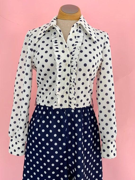 1970's Polka Dot Jumpsuit 70s Palazzo Pants Tuxed… - image 5