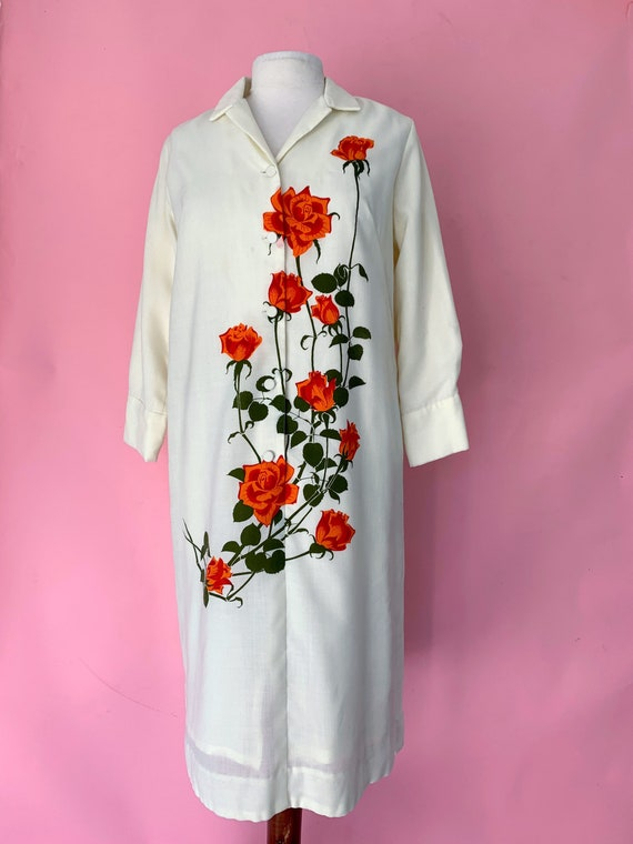 1970's Alfred Shaheen Rose Print Shift Dress Large