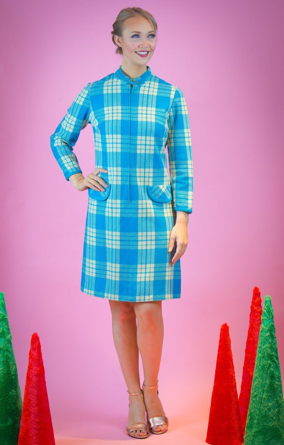 1960's Blue and White Plaid Knit Front Zipper Shif