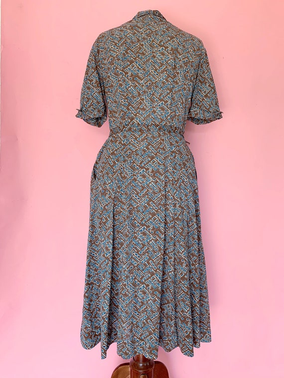 1950's Brown Jersey Zipper Front Day Dress Size L… - image 2