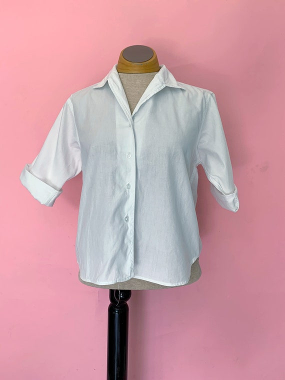 1950's Classic White Button Down Size Large
