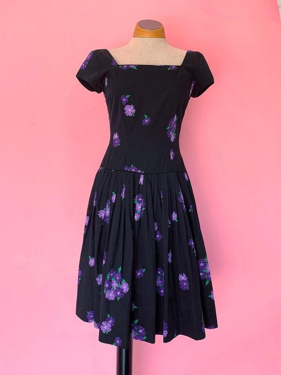 1950's Black Floral Jerry Gilden Cotton Dress