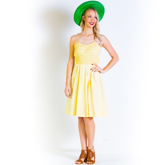 1940's Yellow Ruched Cotton Sundress 40's Day Dres