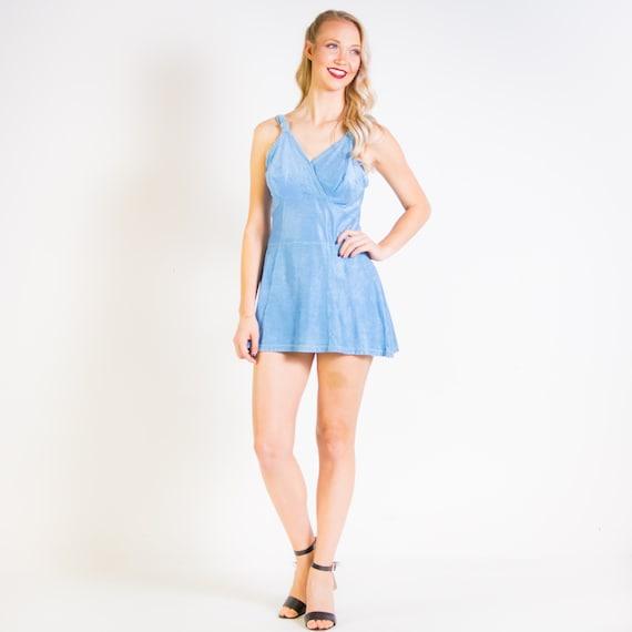1940s 1950s Jantzen Blue Swimsuit Size Large