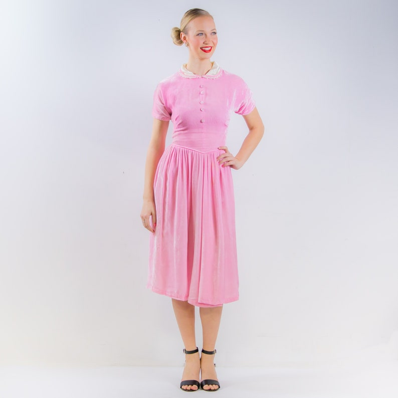 uk availability a8478 17c75 Velluto rosa festa di 1950 vestito di 50 Lana Lobell Dress