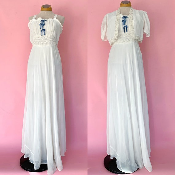 1930's Bridal Set 30's Peignoir Nightgown Lingerie