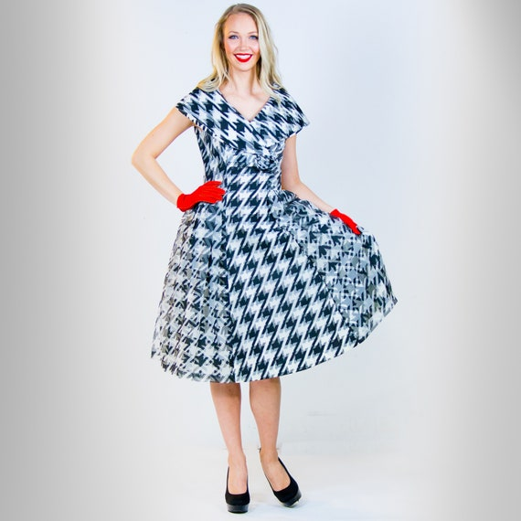 1950's Black and White Houndstooth Party Dress Sma