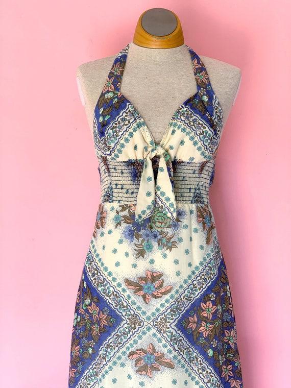1970's Keyhole Halter Maxi Dress