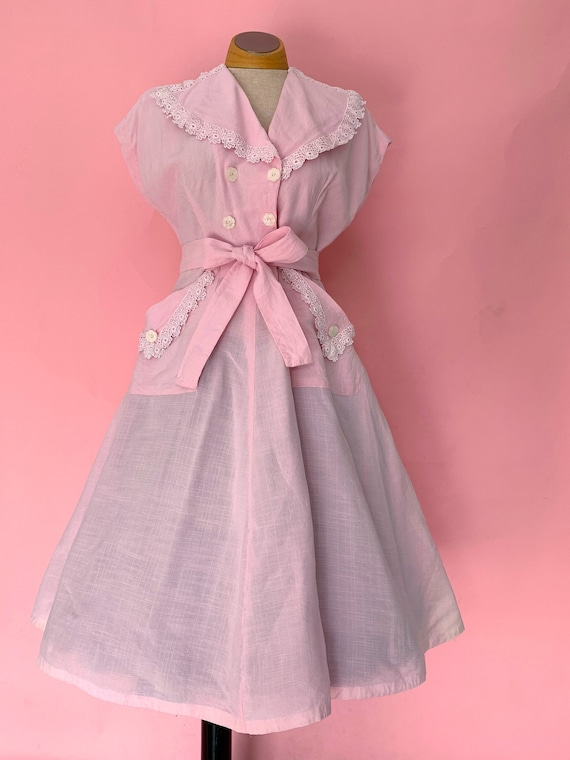 1940's Confectionary Pink Day Dress