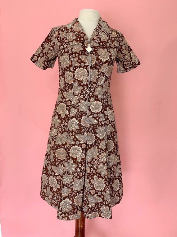 1960's Brown Paisley Scooter Dress