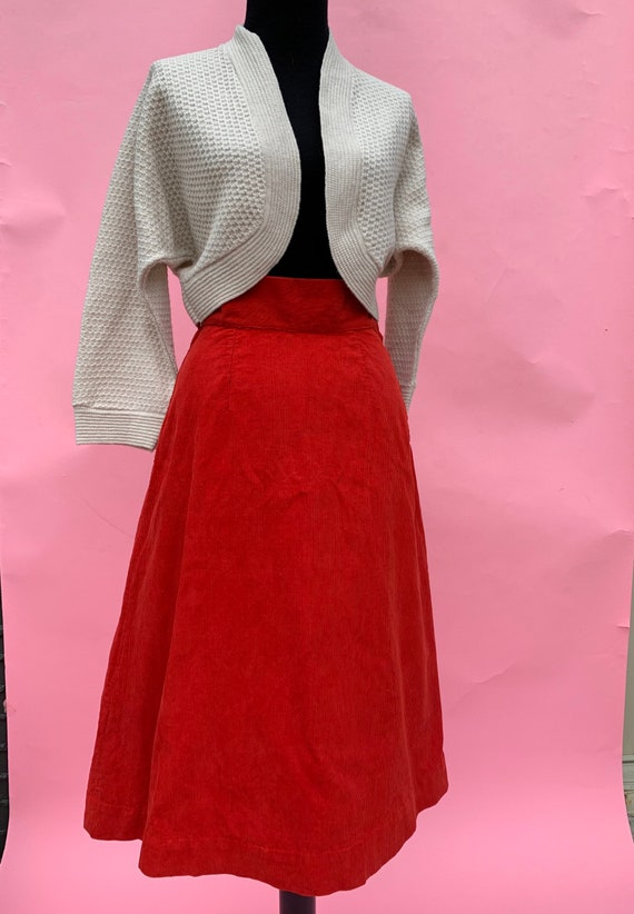 1940's Red Corduroy High Waisted Skirt Size small