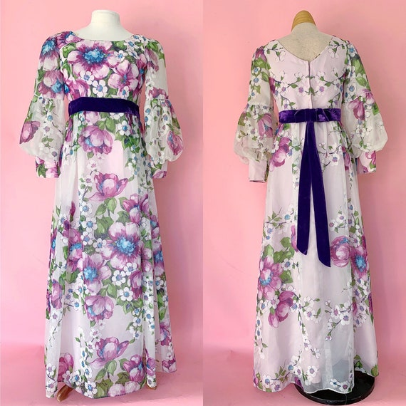 1960's Floral Maxi Dress 60s Bishop Sleeve 60's Dr