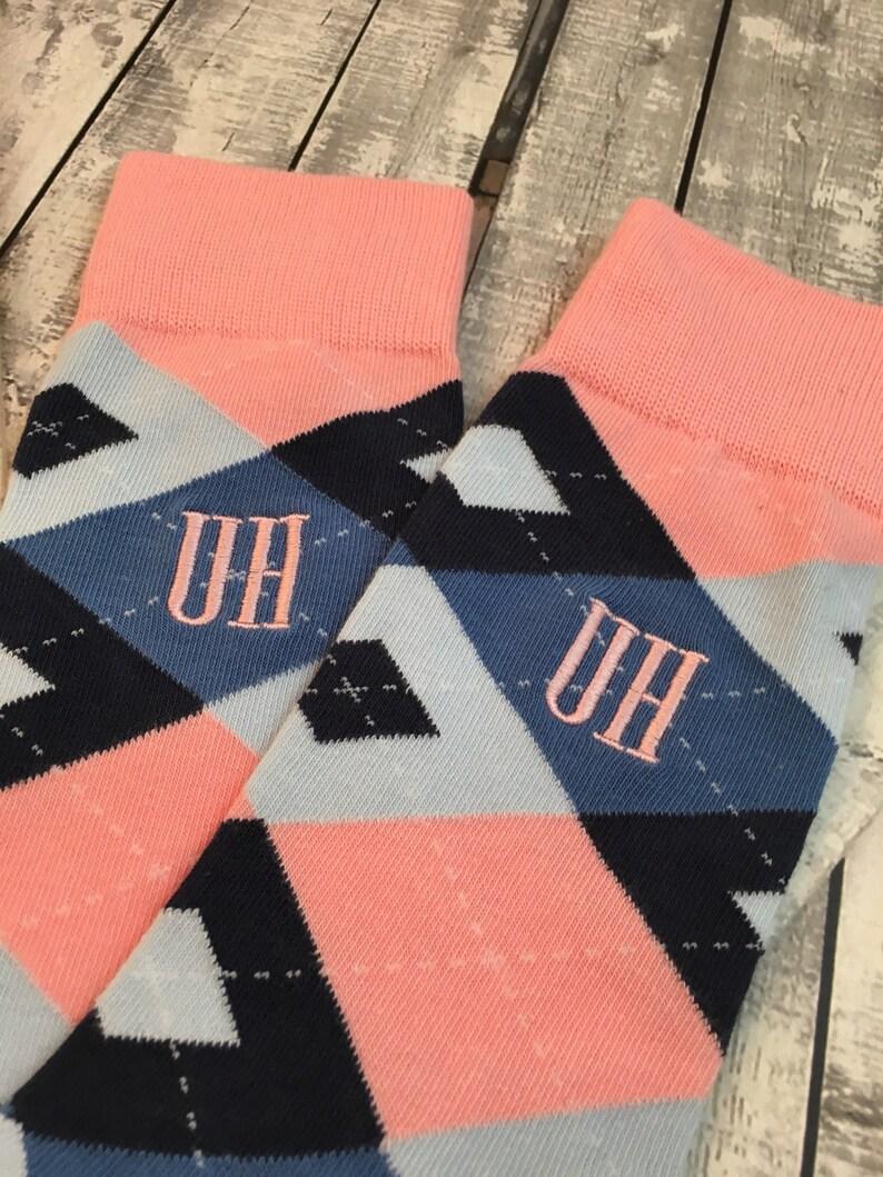 270921ba7ac3 Groom Socks Blush Pink Navy Argyle Mens Monogram Socks   Etsy