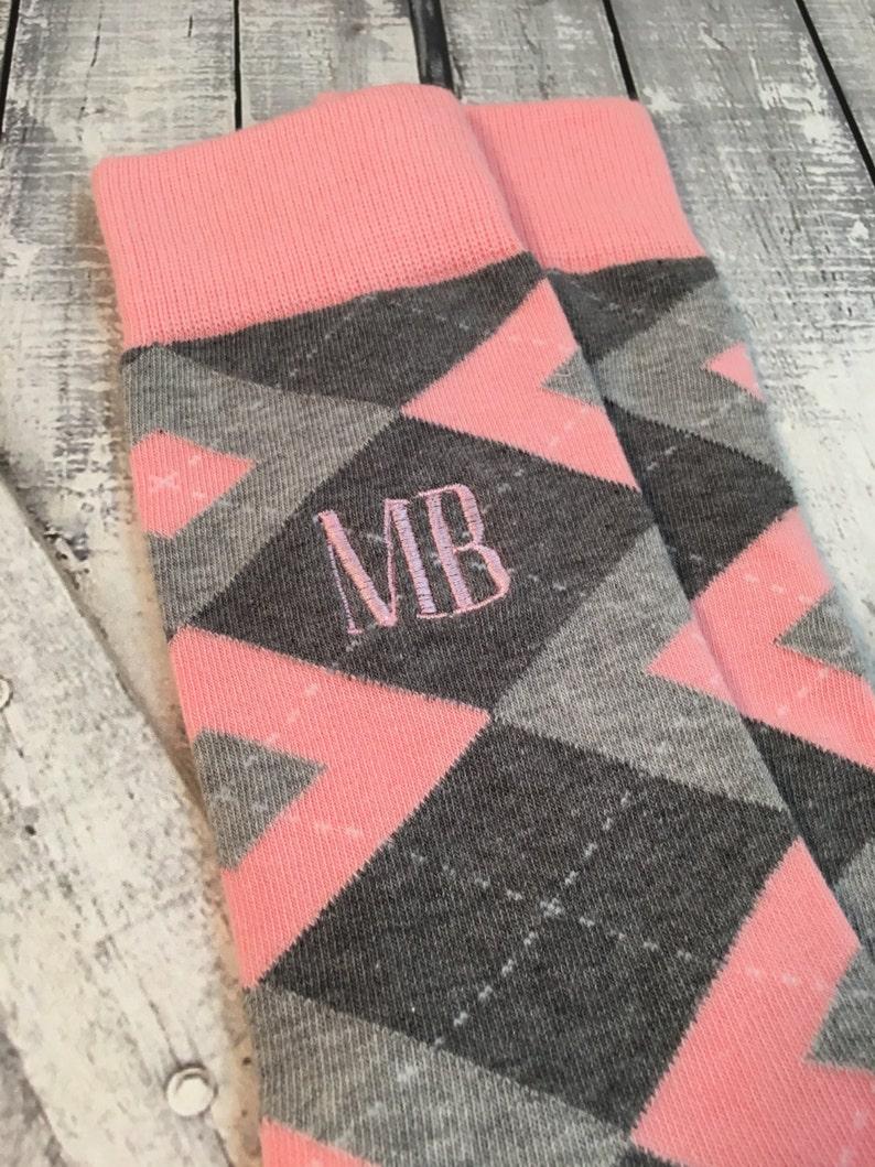 3f89e38e9041 Groom Socks Blush Pink Grey Argyle Mens Monogram Socks   Etsy