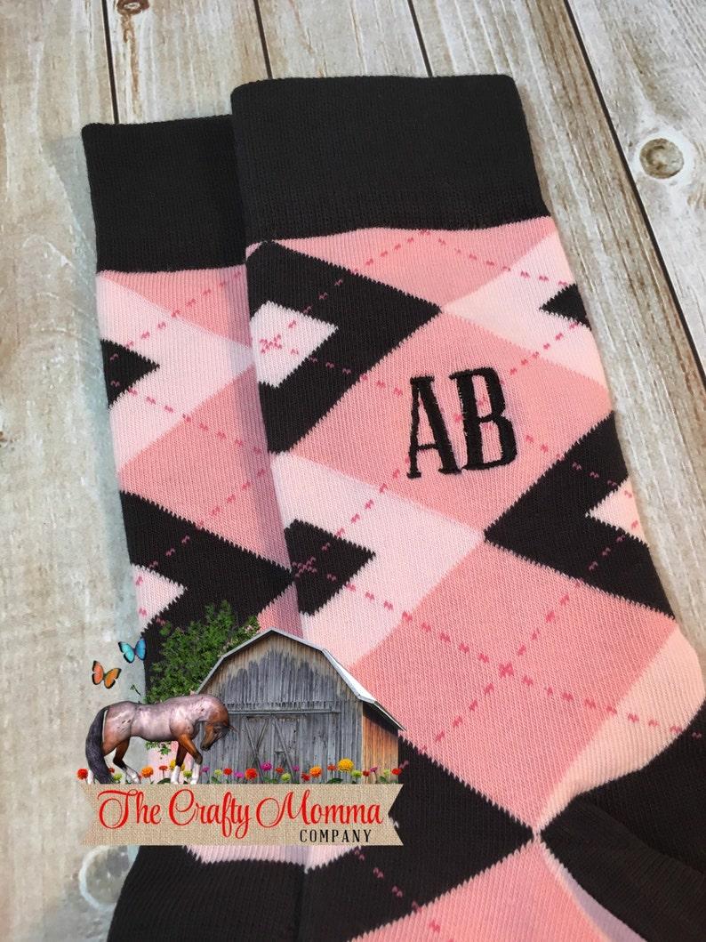913bb613450e Groom Socks Blush Pink Black Argyle Mens Monogram Socks   Etsy