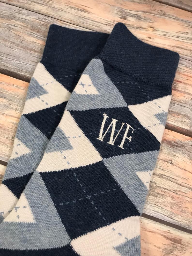 535fce503c9b Groom socks Navy and Light Blue Argyle Mens dress socks   Etsy