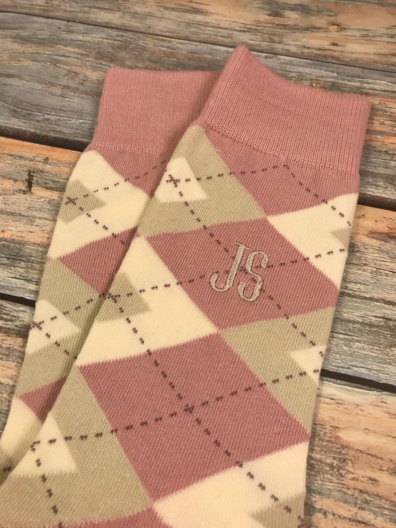 580b7faa6937 Groom Socks Desert Rose Champagne Mens Monogram Socks   Etsy
