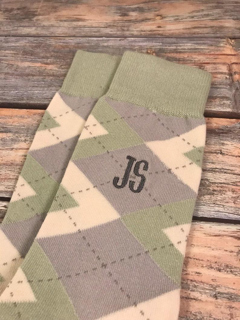 6ac07c56c6d8 Groom Socks Sage Green Argyle Mens Monogram Socks Mens   Etsy
