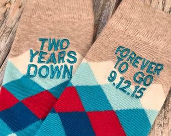 Anniversary Socks - fruit - fourth anniversary gift - mens dress socks - husband gift - four year anniversary gift - embroidered socks 53WQU7UCC