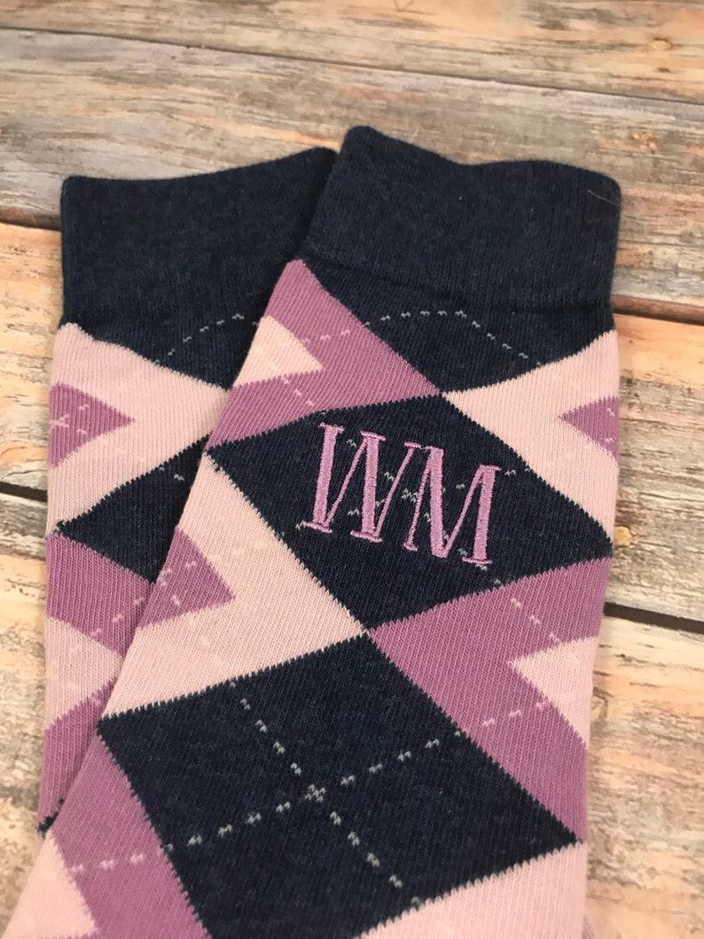 6076dfb5f174 Groom Socks Purple Navy Champagne Argyle Mens Monogram   Etsy