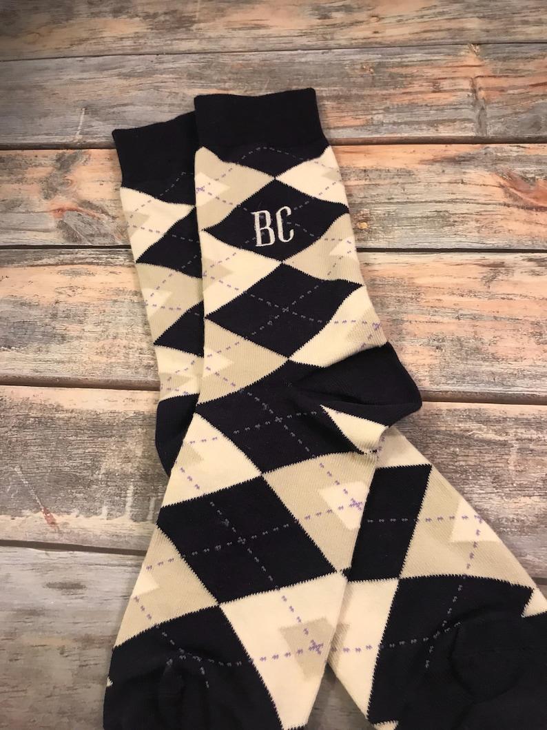 ce0d58747f81 Groom Socks Navy Tan Champagne Argyle Mens Monogram Socks   Etsy