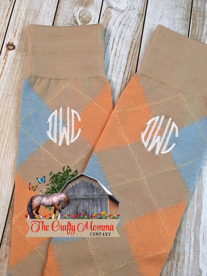 Tan Blue Orange Wedding Party Gift Groom Socks Groomsmen Gift Monogrammed Socks Mens Dress Socks