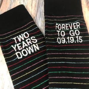 cotton husband gift embroidered socks two year anniversary gift mens dress socks Anniversary Socks second anniversary gift
