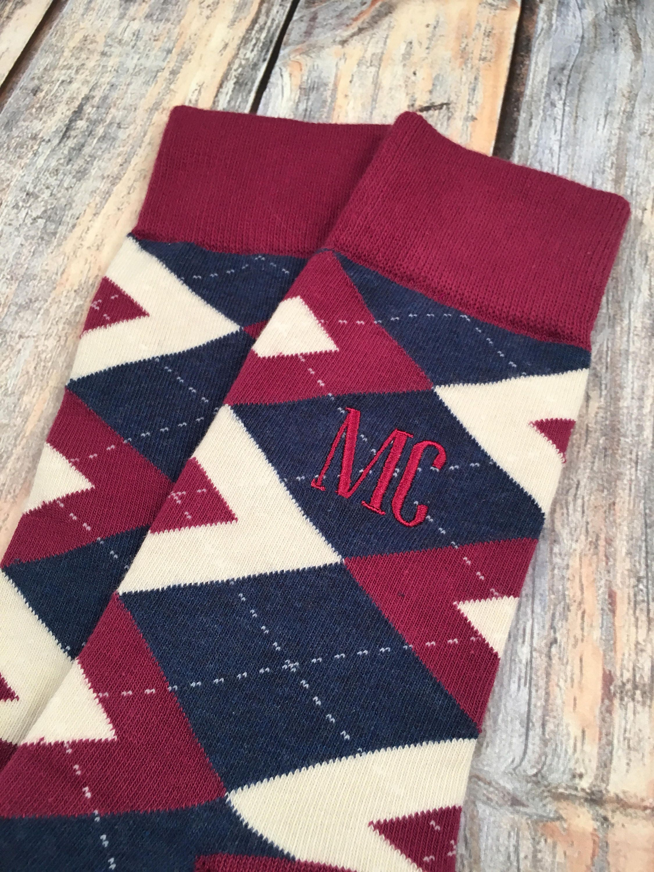 c3c66602d8ef Groom socks Sangria and Navy Argyle Mens dress socks   Etsy