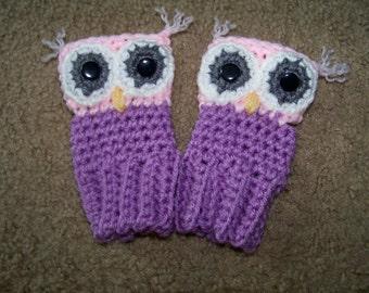 Crocheted Owl Fingerless Gloves