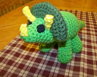 Tim the Crocheted Triceratops Rattle