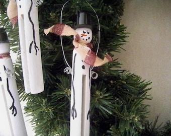 Snowman Clothespin Ornament