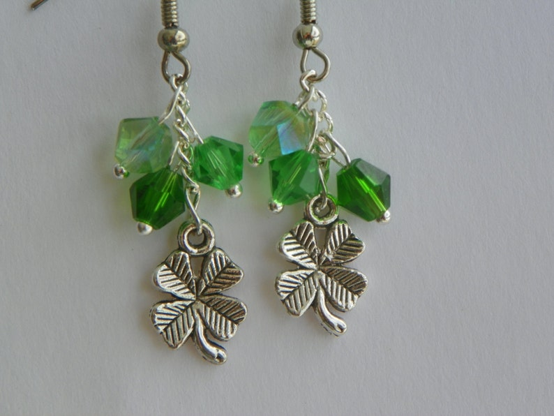 24386459f5f9f9 Shamrock Earrings St. Patricks Day Earrings 4 Leaf Clover