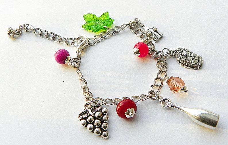 0734398a18778 Wine Bracelet wine charm bracelet wine connoisseur bracelet wine jewelry  adjustable charm bracelet adjustable chain bracelet handcrafted br