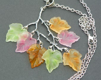 Fall leaf pendant multicolor leaves on a branch necklace fall season jewelry fall leaf necklace multicolor pendant fall leaf necklace jewelr