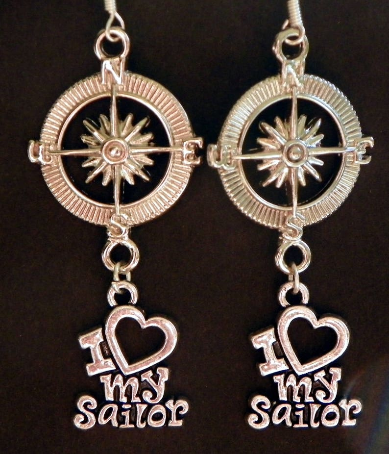 Navy Earrings Navy wife earrings navy mom earrings navy jewelry nautical earrings nautical jewelry naval earrings naval jewelry drop earring