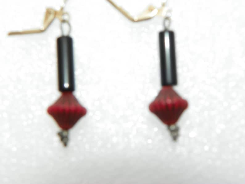 Vintage Earrings red and black earrings prom earrings prom jewelry red earrings black earrings dangle earrings gift handmade earrings