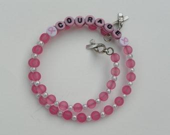 Breast Cancer Bracelet cancer bracelet courage bracelet pink ribbon bracelet ribbon bracelet cancer awareness bracelet memory wire bracelet