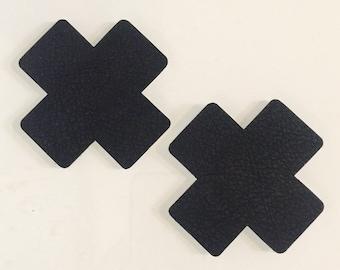 Black Leather (faux) Cross X Nipple Pasties