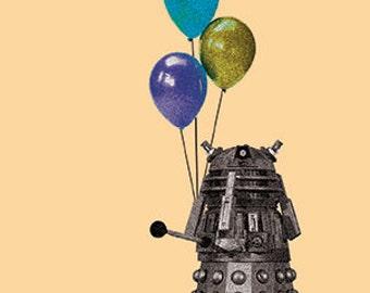 Dalek Birthday Card Doctor Who Inspired Hand Drawn Blank Card