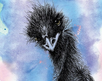 Emu Print Hand Drawn Australian Bird Illustration